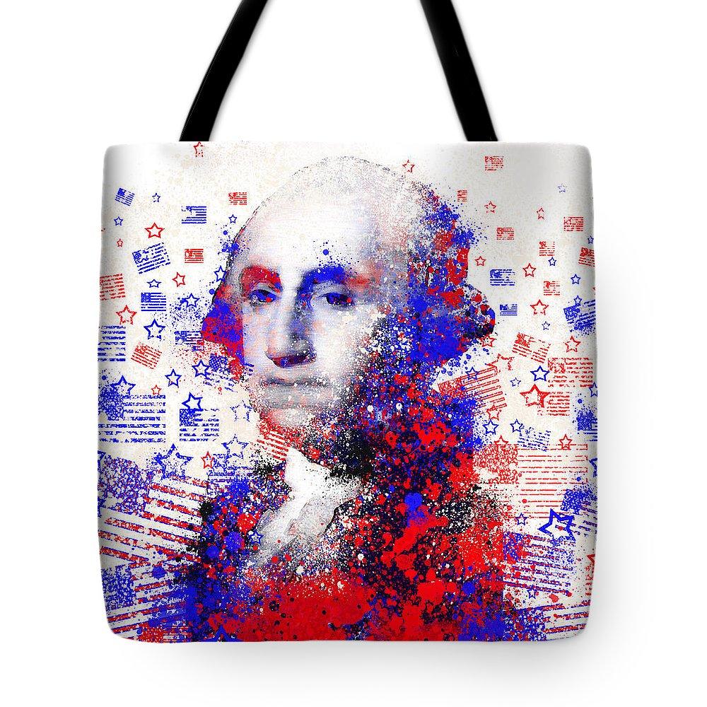 George Washington Tote Bag featuring the painting George Washington by Bekim M
