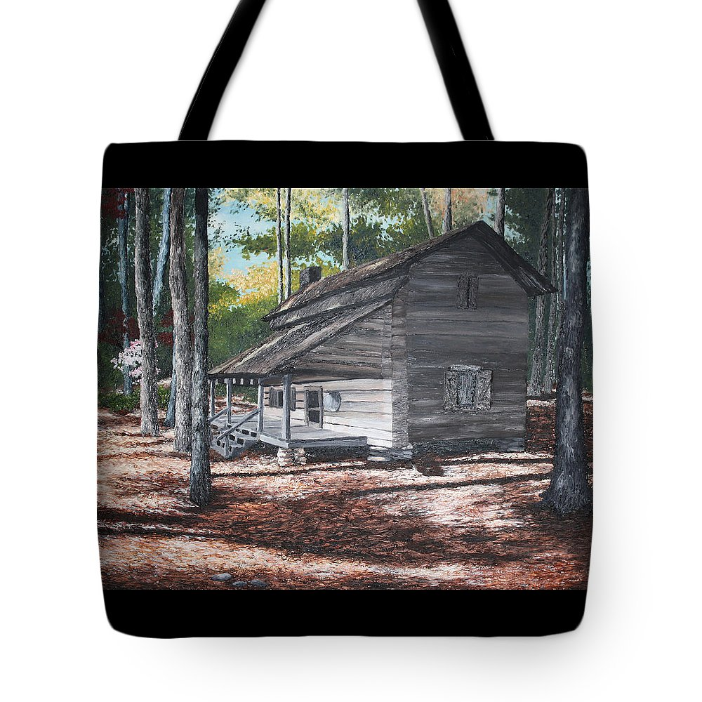 Georgia. Cabin Tote Bag featuring the painting Georgia Cabin In The Woods by Beth Parrish