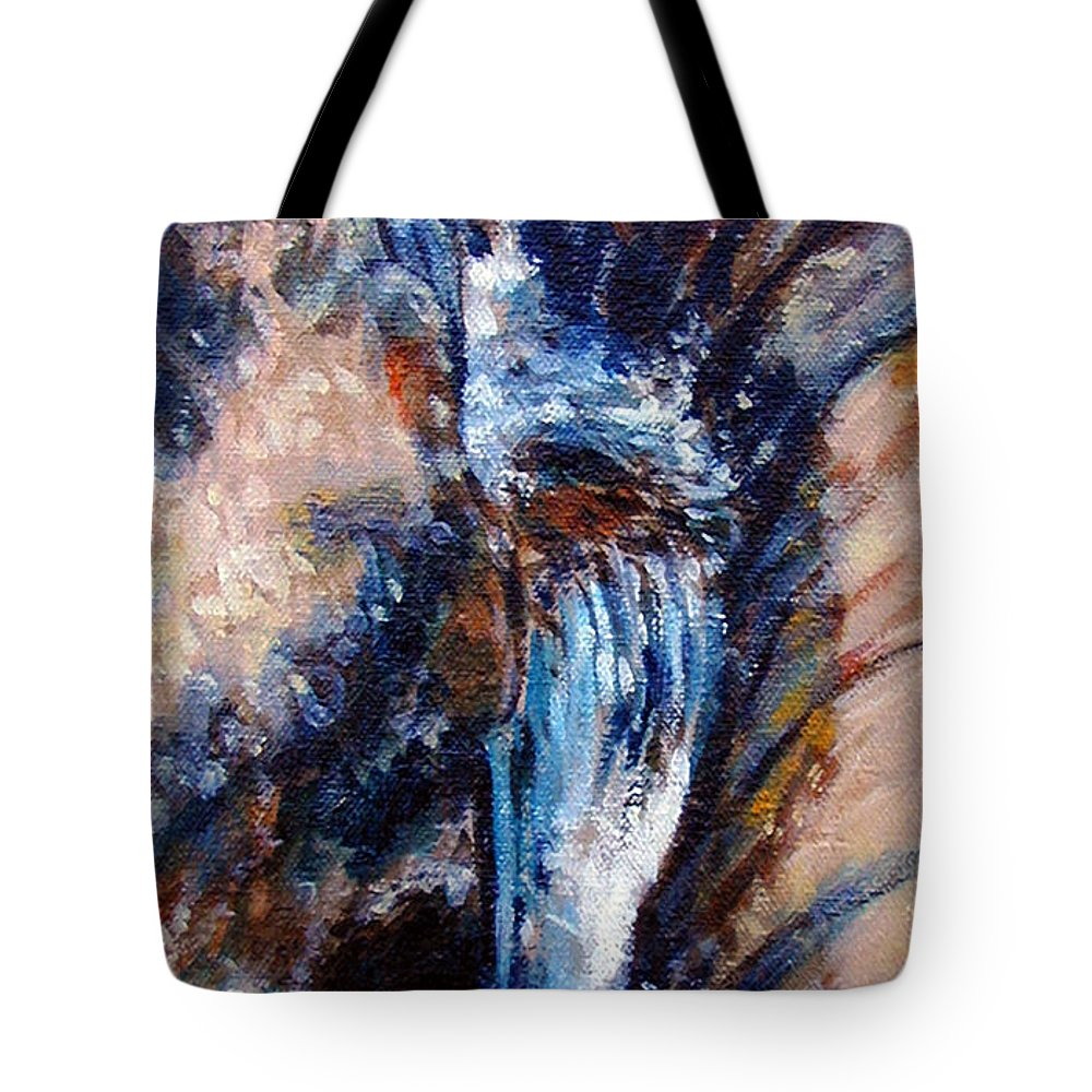 Waterfall Tote Bag featuring the painting Georgia Waterfall by John Lautermilch