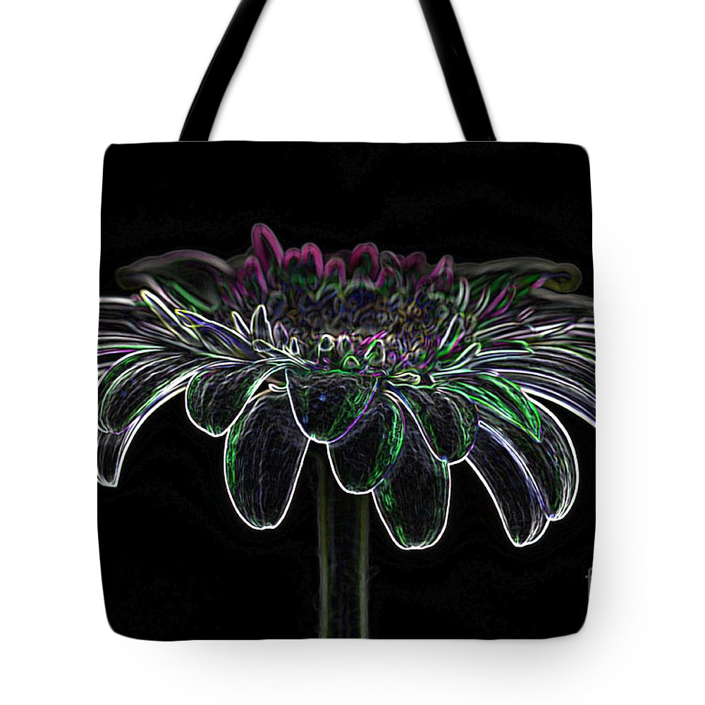 Pink Gerbera Flower Tote Bag featuring the photograph Gerbera Glow 4 by Steve Purnell