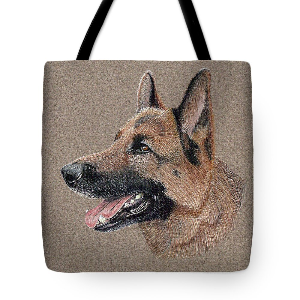 Dog Tote Bag featuring the drawing German Shepherd by Ron Bird