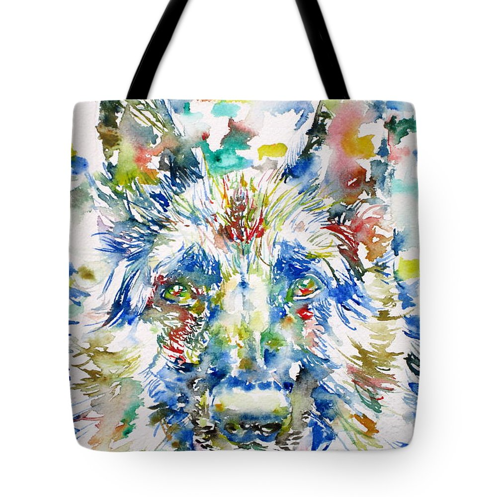 German Tote Bag featuring the painting German Shepherd - Watercolor Portrait by Fabrizio Cassetta
