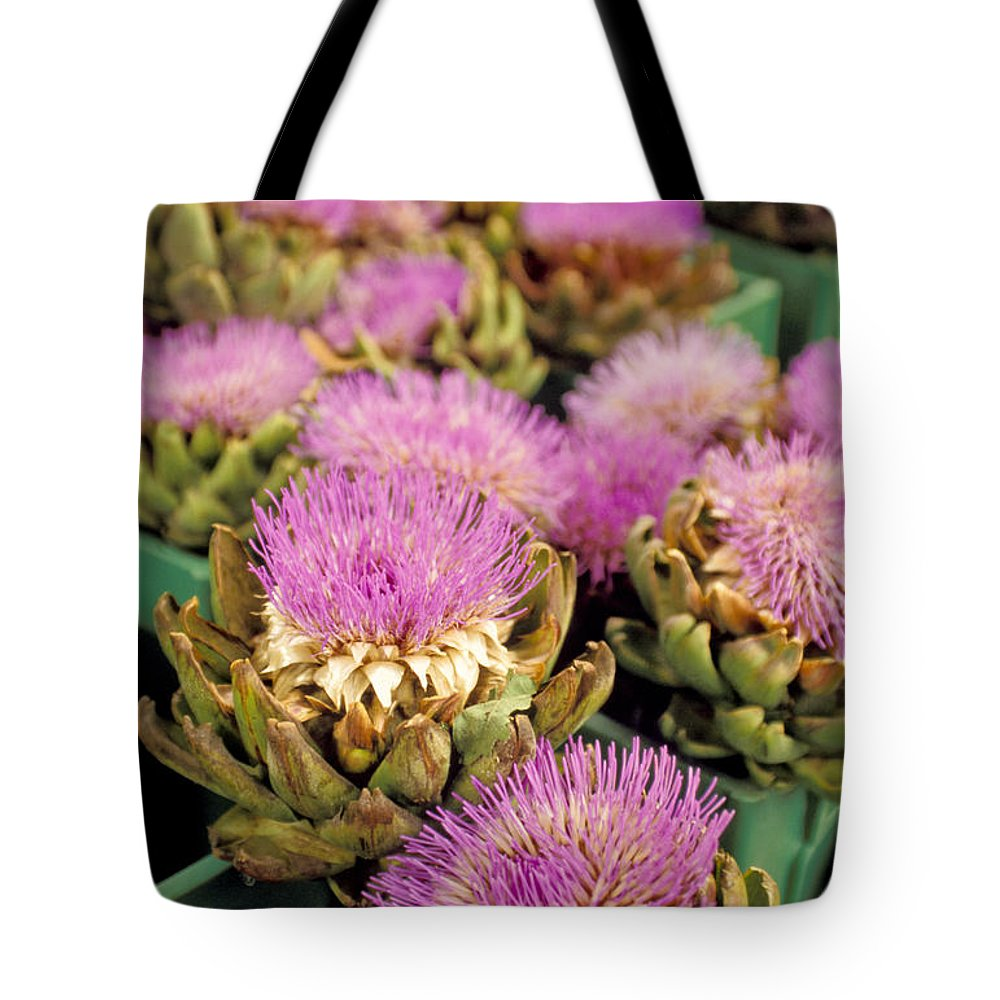 No People; Horizontal; Outdoors; Day; Focus On Foreground; Still Life; Large Group Of Objects; Nature; Flower; Flower Head; Aachen;germany; Artichoke Tote Bag featuring the photograph Germany Aachen Munsterplatz Artichoke Flowers by Anonymous