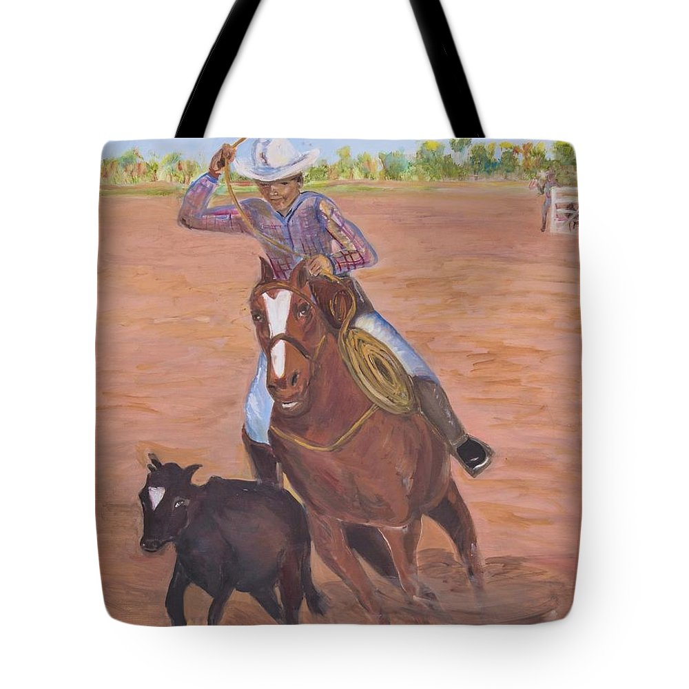 Tote Bag featuring the painting Getting Ready For Rodeo by Toney Jones