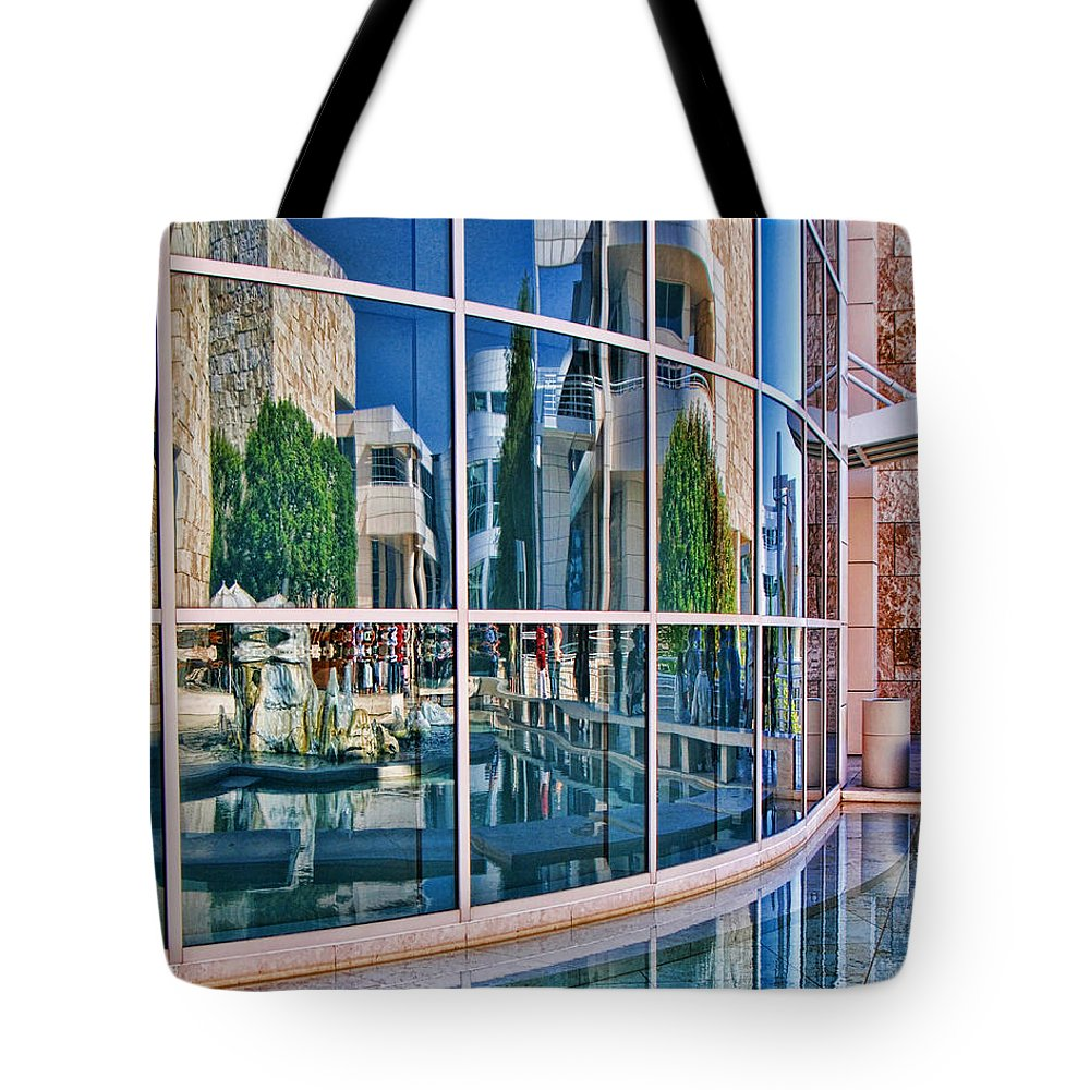 The Getty Center Tote Bag featuring the photograph Getty Reflections by Norma Warden