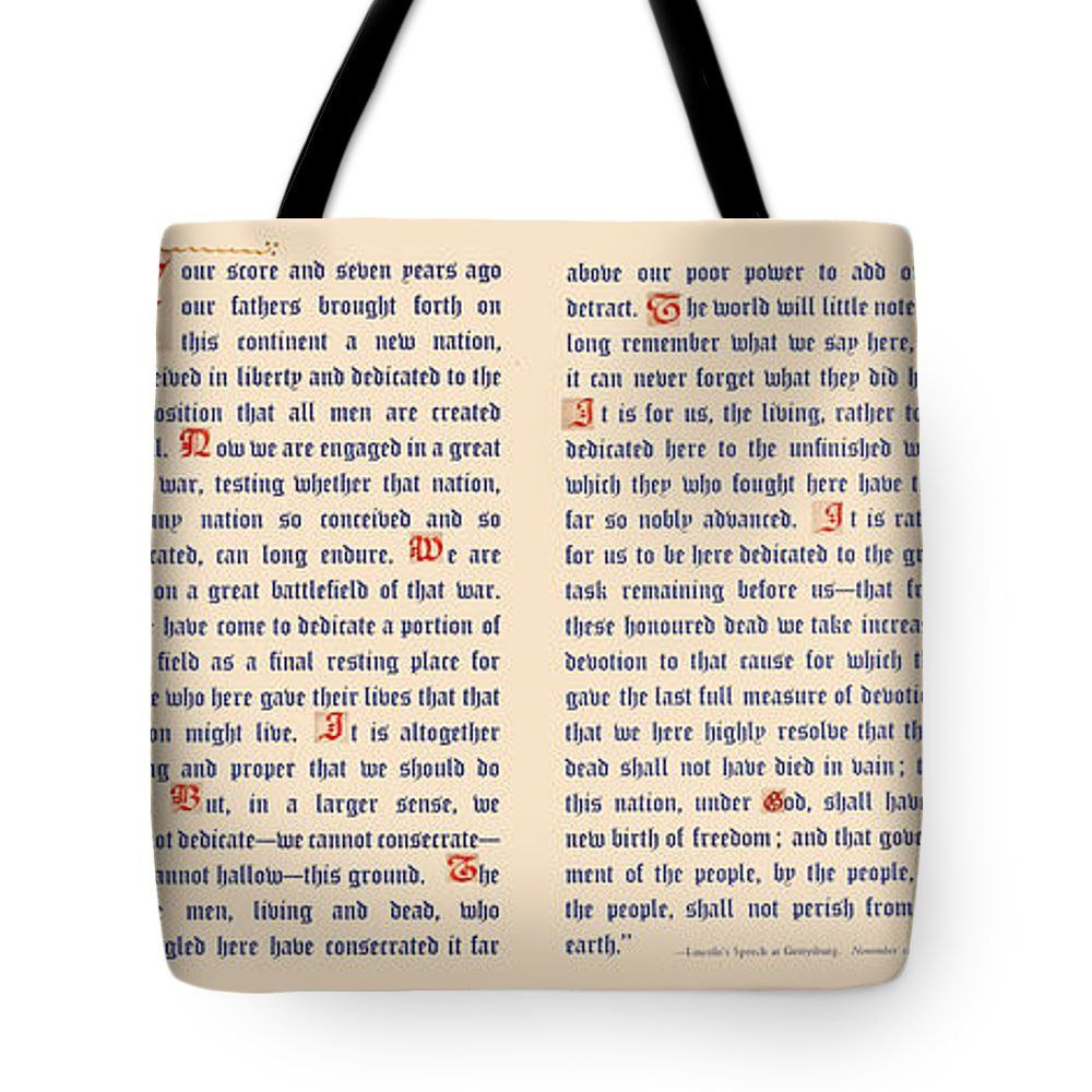 Gettysburg Address Tote Bag featuring the digital art Gettysburg Address by Gary Grayson