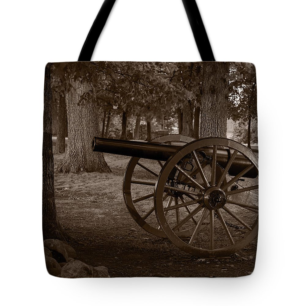 Gettysburg Tote Bag featuring the photograph Gettysburg Cannon B W by Steve Gadomski