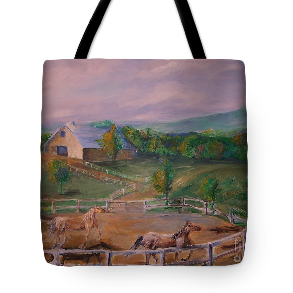 Pennsylvania Tote Bag featuring the painting Gettysburg Farm by Eric Schiabor