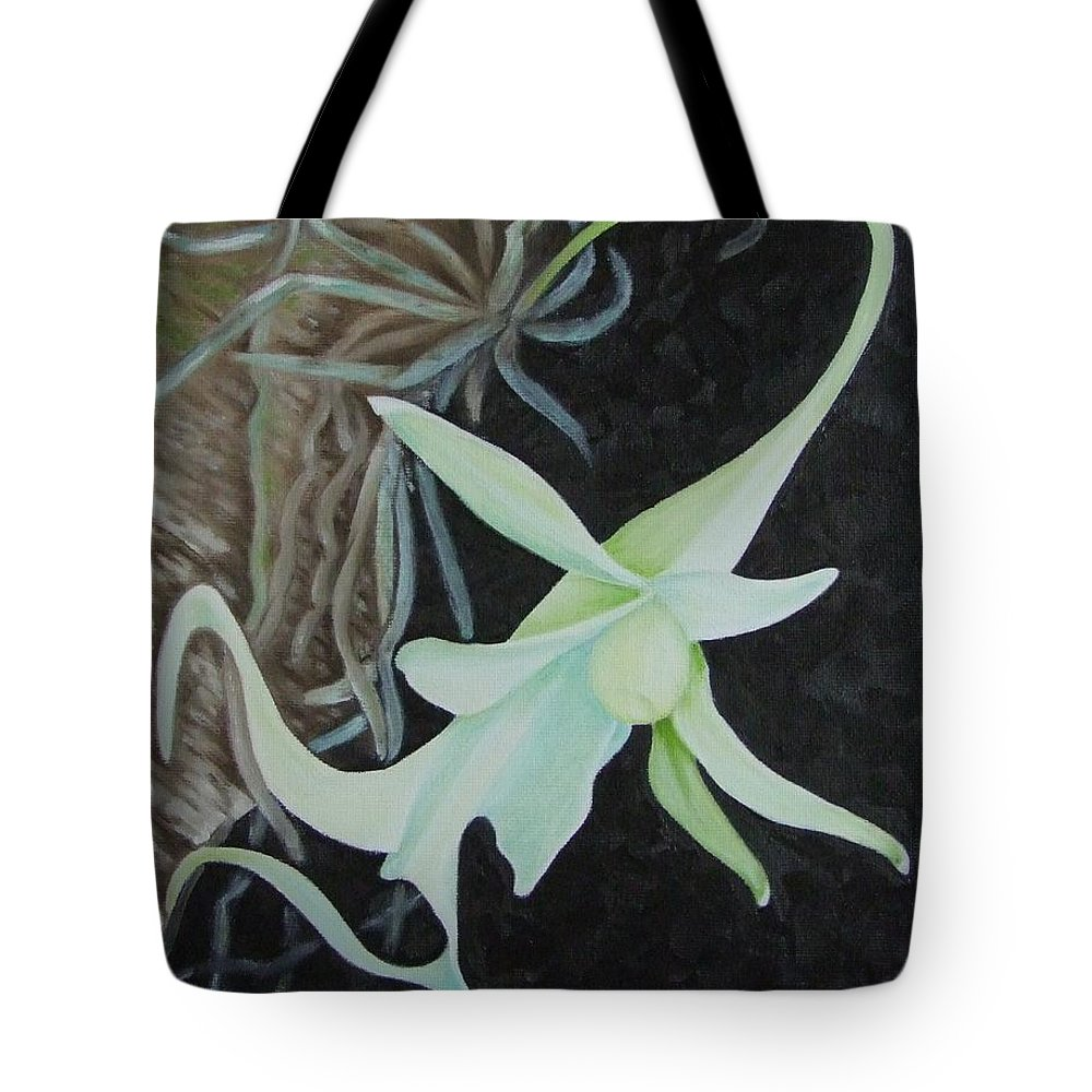 Orchids Tote Bag featuring the painting Ghost Orchid On A Palm Tree by Mary Deal