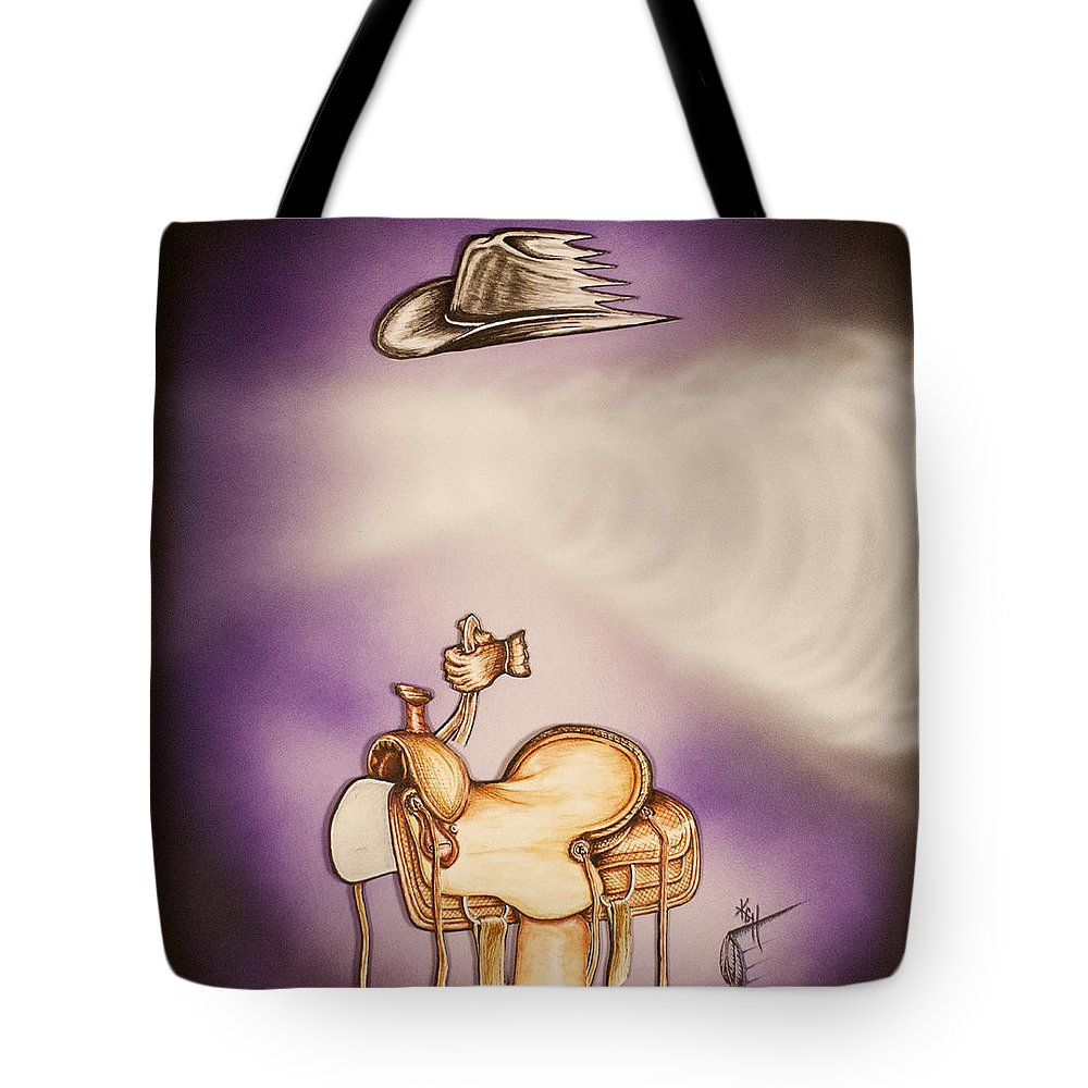 Ghost Tote Bag featuring the mixed media Ghost Rider by Kem Himelright