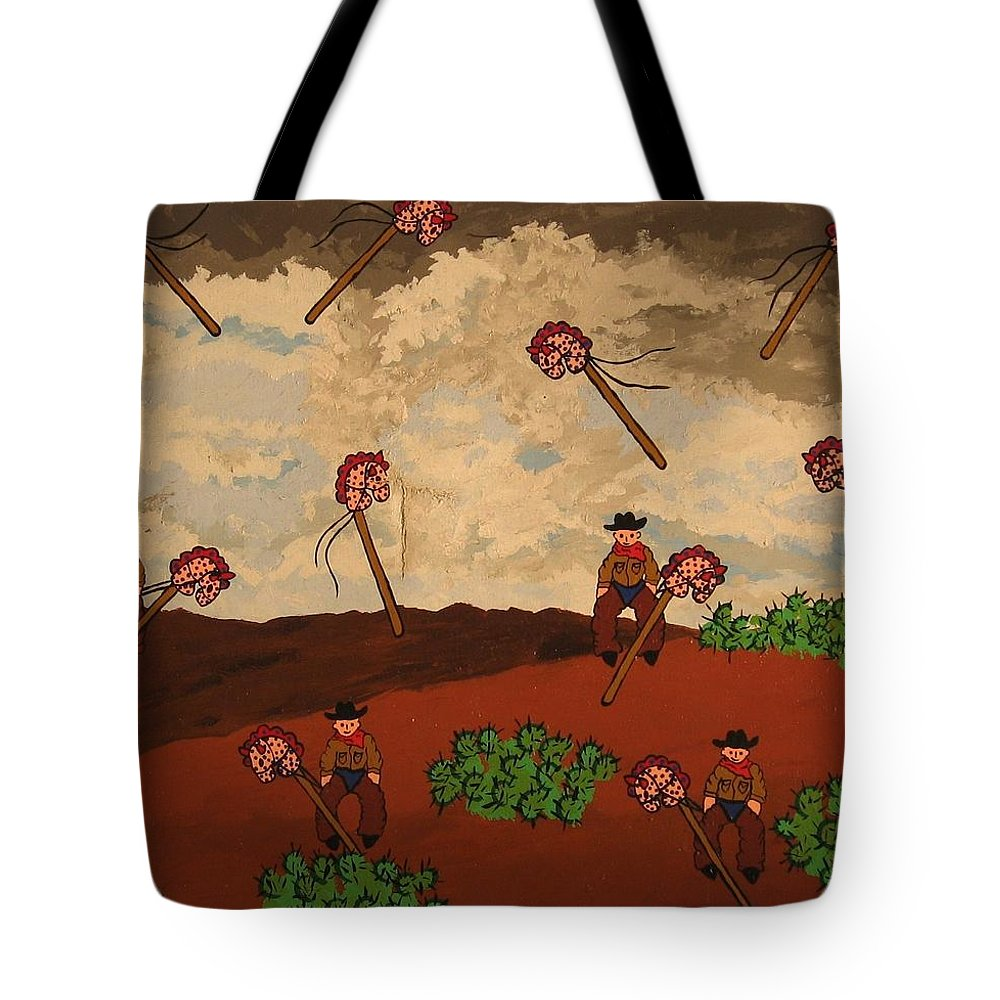 Cowboy Tote Bag featuring the painting Ghost Riders by Erika Chamberlin