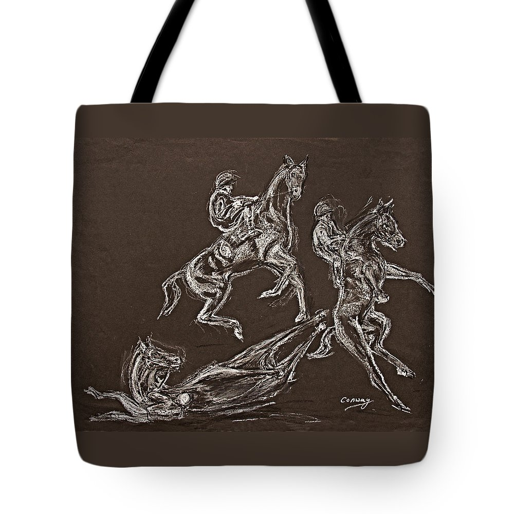Rearing Horse Tote Bag featuring the drawing Ghost Riders in the Sky by Tom Conway