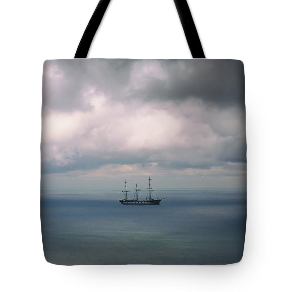Water Tote Bag featuring the photograph Ghost Ship by Margie Hurwich