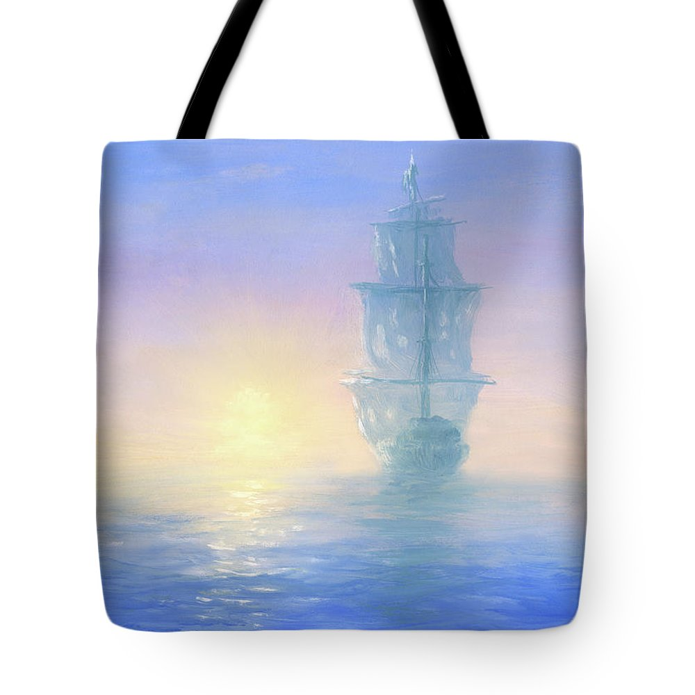 Art Tote Bag featuring the digital art Ghost Ship by Pobytov