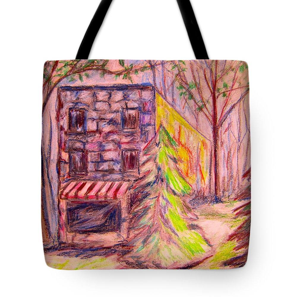 Store Tote Bag featuring the drawing Ghost Store by Kendall Kessler