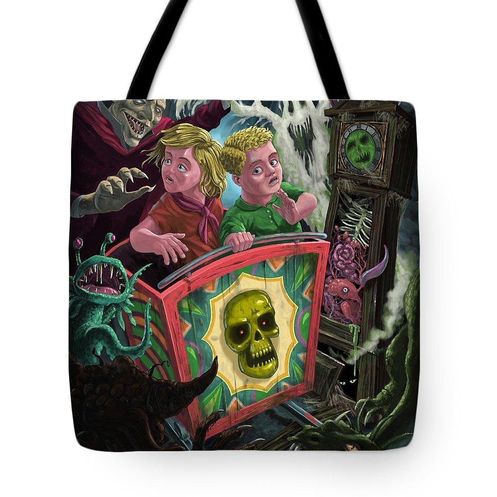 Fun Fair Ride Tote Bag featuring the painting Ghost Train Fun Fair Kids by Martin Davey