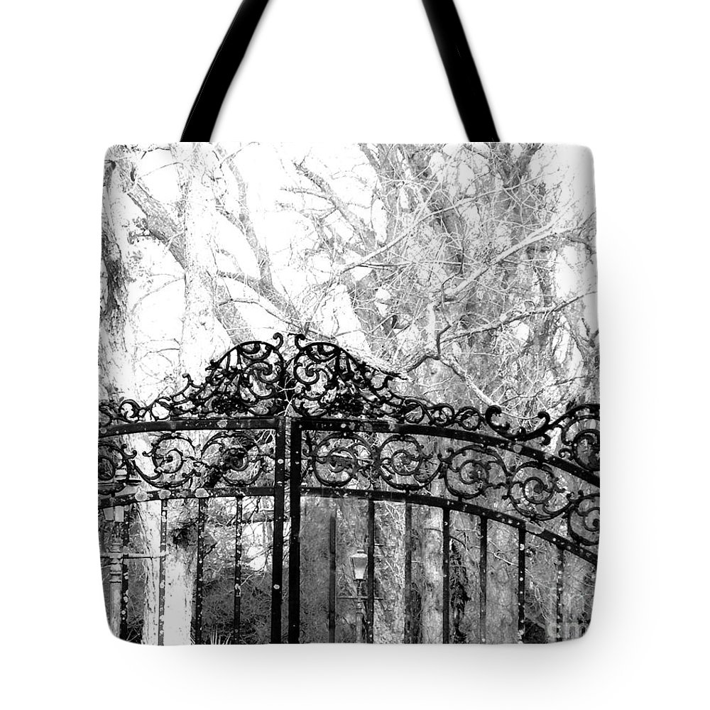 Plantation Tote Bag featuring the photograph Ghosted Gateway by Lizi Beard-Ward
