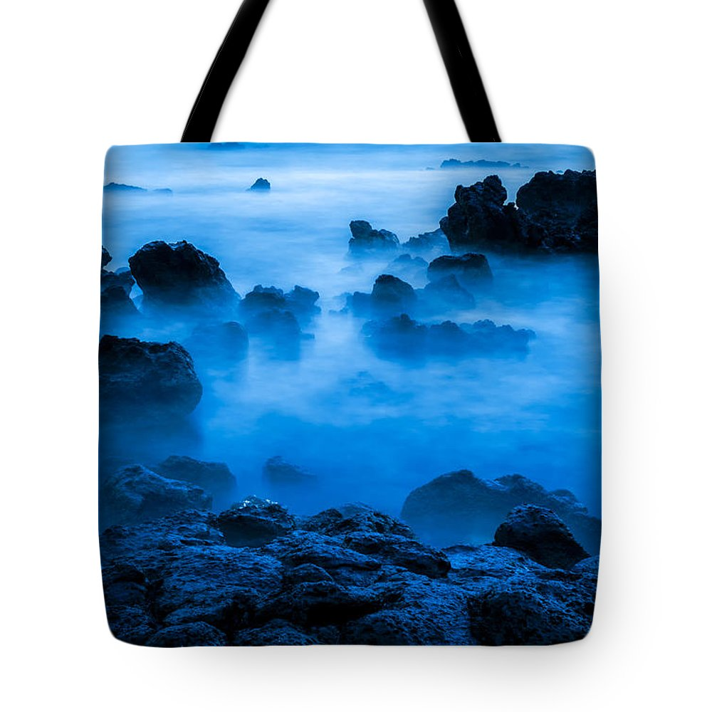 Blue Tote Bag featuring the photograph Ghostly Ocean 1 by Leigh Anne Meeks