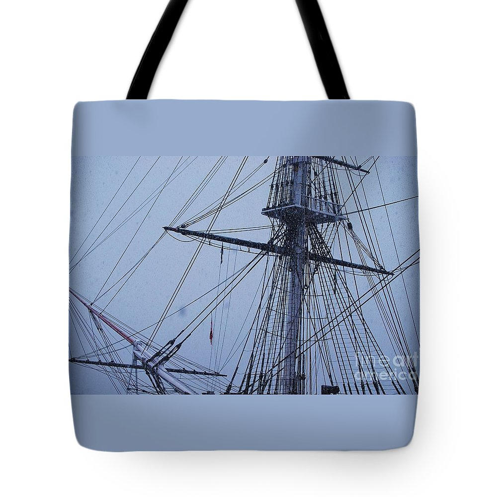 Historic Ship Photography American History Photography Boat Photography Nautical Photography Sail Boat Photography Uss Constitution Photography Boston Photography Ship Photography Tall Ship Photography Iconic Monument Photography Winter Photography Stock Shot Photography Metal Frame Suggested Greeting Card For History Fans Throw Pillow Art Tote Bag Art Phone Case Art T Shirt Art Shower Curtain Art Tote Bag featuring the photograph Ghostly Rigging In Snow by Marcus Dagan