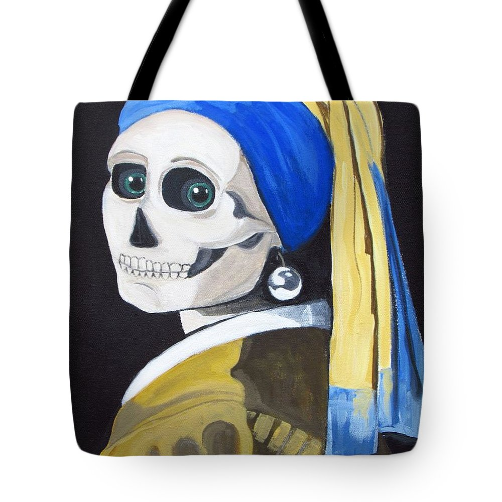 Ghoul Tote Bag featuring the painting Ghoul With Pearl Earring by Katherine McElhinny