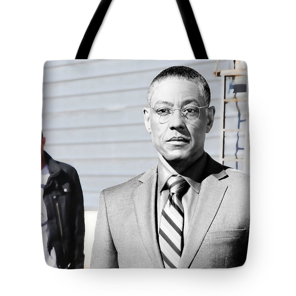 Aaron Paul Tote Bag featuring the digital art Giancarlo Esposito as Gustavo Fring and Aaron Paul as Jesse Pinkman @ TV serie Breaking Bad by Gabriel T Toro