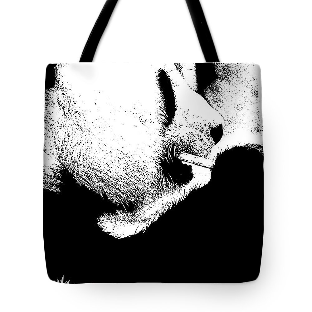 Panda Tote Bag featuring the photograph Giant Panda With Script #2 by Nola Lee Kelsey