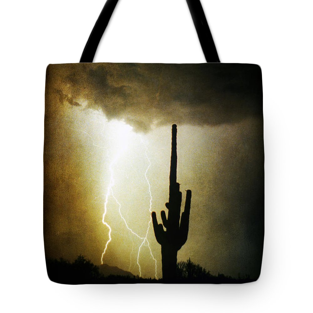 Lightning Tote Bag featuring the photograph Giant Saguaro Lightning Spiral Fine Art Photography Print by James BO Insogna