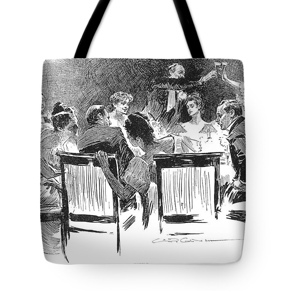 1894 Tote Bag featuring the photograph Gibson: Dinner Party, 1894 by Granger