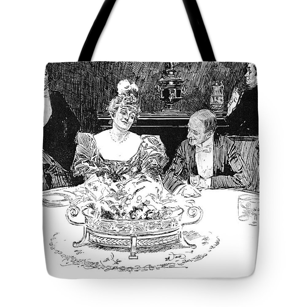 1896 Tote Bag featuring the photograph Gibson: Dinner Party by Granger