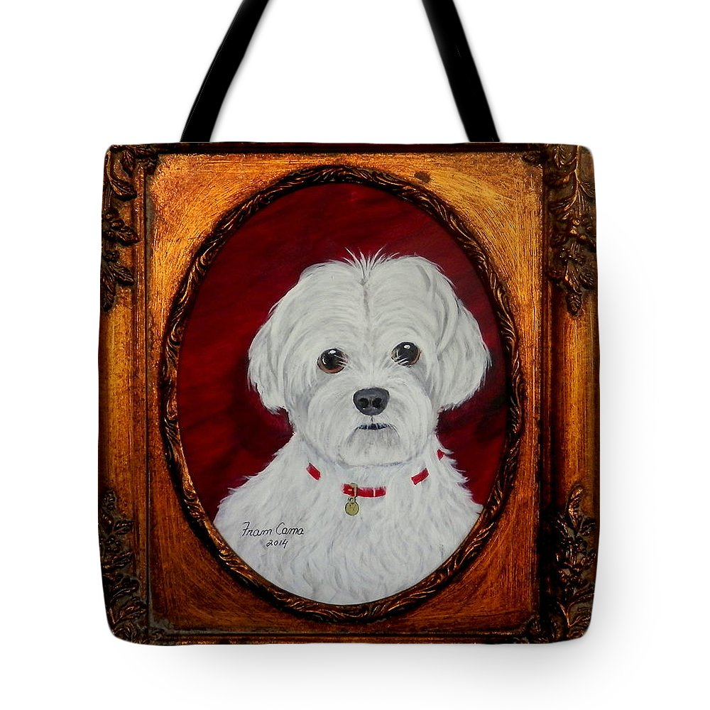 Pets Tote Bag featuring the painting Gidget.my Maltese by Fram Cama