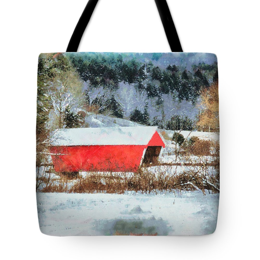 Covered Bridge-gifford Bridge Vermont By Jeff Folger Tote Bag featuring the photograph Gifford Covered Bridge In Winter by Jeff Folger