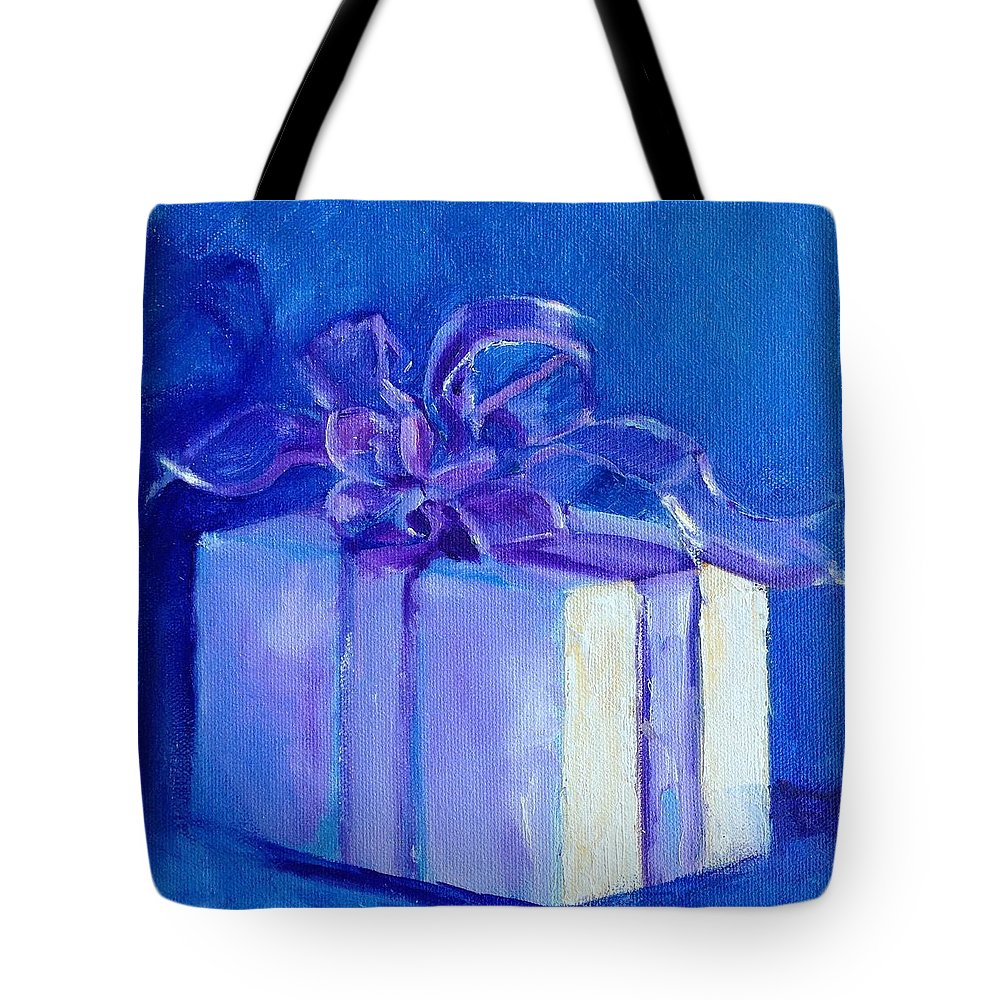 Blue Tote Bag featuring the painting Gift In Blue by Carol Hopper