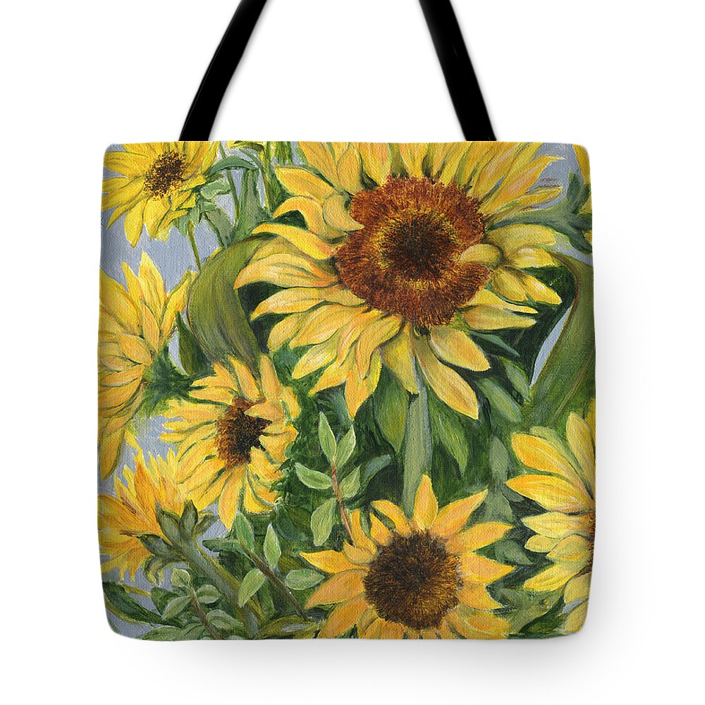 Sunflower Tote Bag featuring the painting Gift Of Love And Gratitude by Sandy Murphree Jacobs