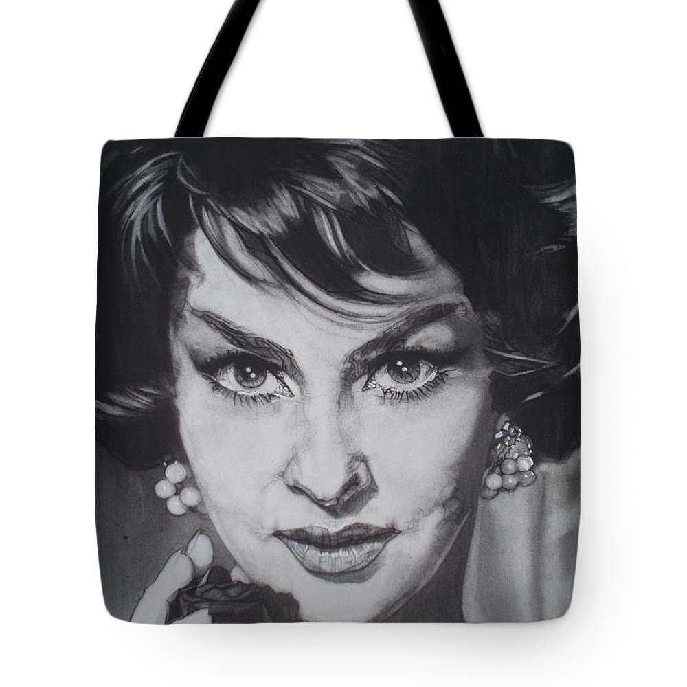 Charcoal; Hypnotic; Cat-eyes; Mona Lisa Smile; Lips; Fingers; Hair; Rose; Flower; Jewels; Ring; Earrings; Feminine; Feline; Beauty; Beautiful; Delicate; Curtain; Classic Tote Bag featuring the drawing Gina Lollobrigida by Sean Connolly