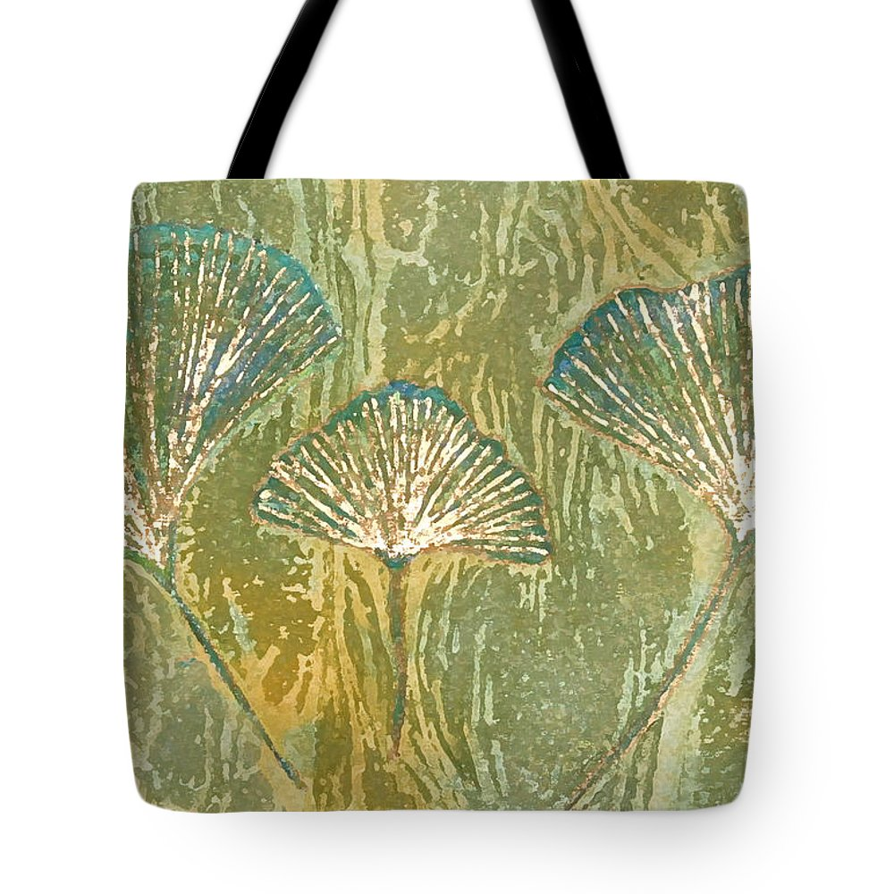 Abstract Tote Bag featuring the painting Gingko Family Tree by Maura Satchell