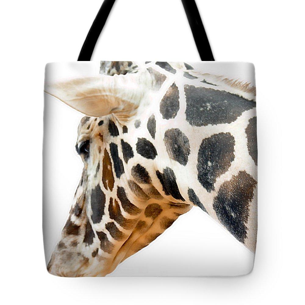 Giraffe Tote Bag featuring the photograph Giraffe by Adam Vance