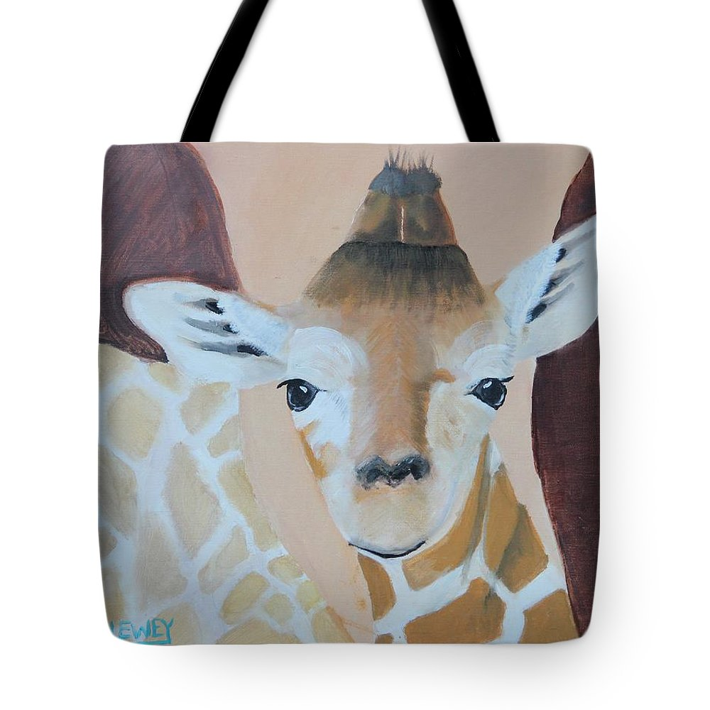 Giraffe Tote Bag featuring the painting Giraffe Baby by Terry Lewey