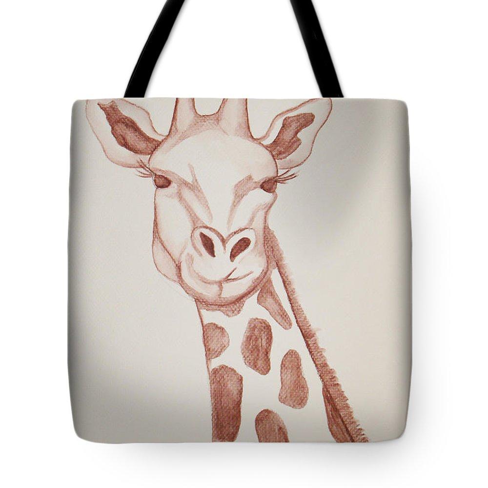 Rick Huotari Tote Bag featuring the painting Giraffe by Rick Huotari