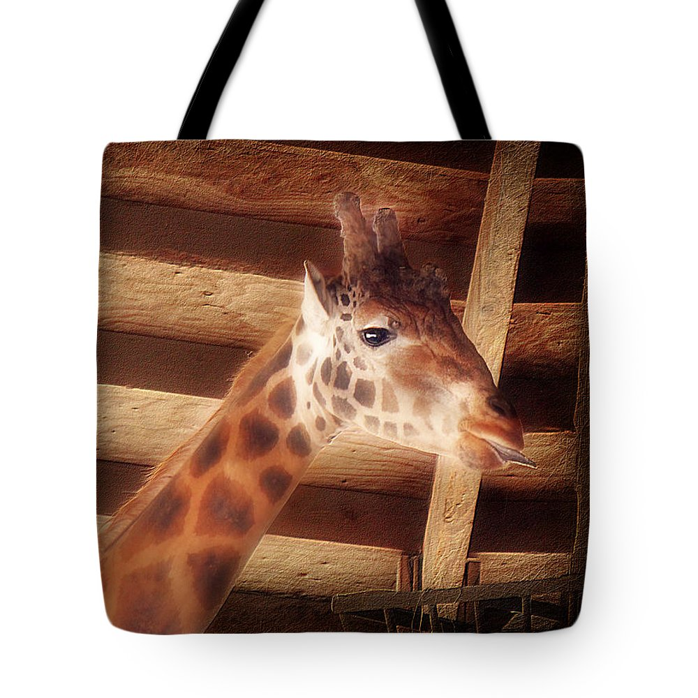 Giraffe Tote Bag featuring the photograph Giraffe Smarty by Melanie Lankford Photography