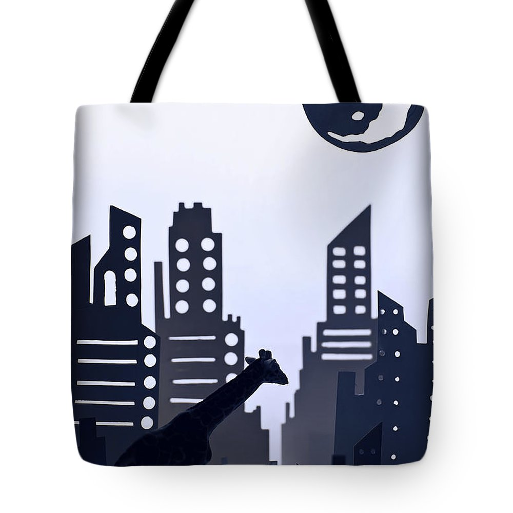 White Background Tote Bag featuring the digital art Giraffe Walking Around The City by Dina Belenko Photography