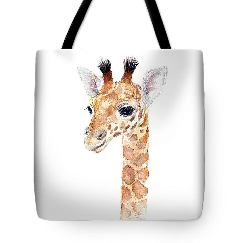 Watercolor Tote Bag featuring the painting Giraffe Watercolor by Olga Shvartsur