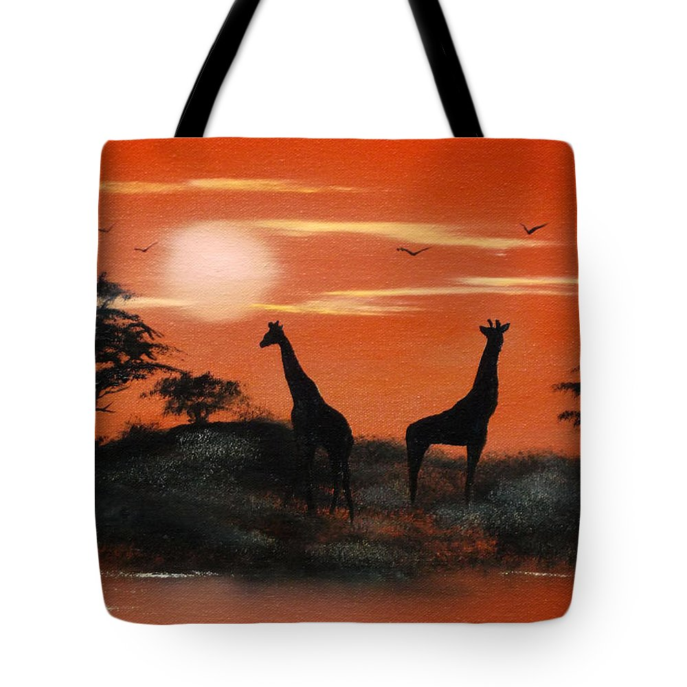 Lanscape Tote Bag featuring the painting Serengeti Sunset Sold by Cynthia Adams