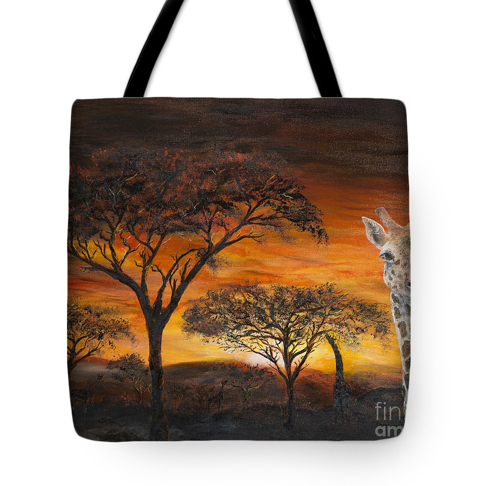 Giraffes Tote Bag featuring the painting Giraffes At Sunset by John Garland Tyson