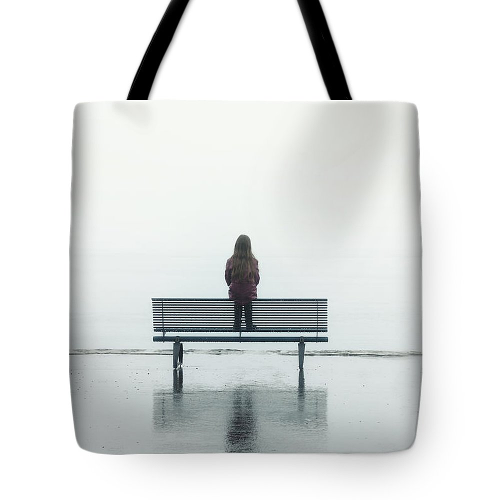 Female Tote Bag featuring the photograph Girl On A Bench by Joana Kruse