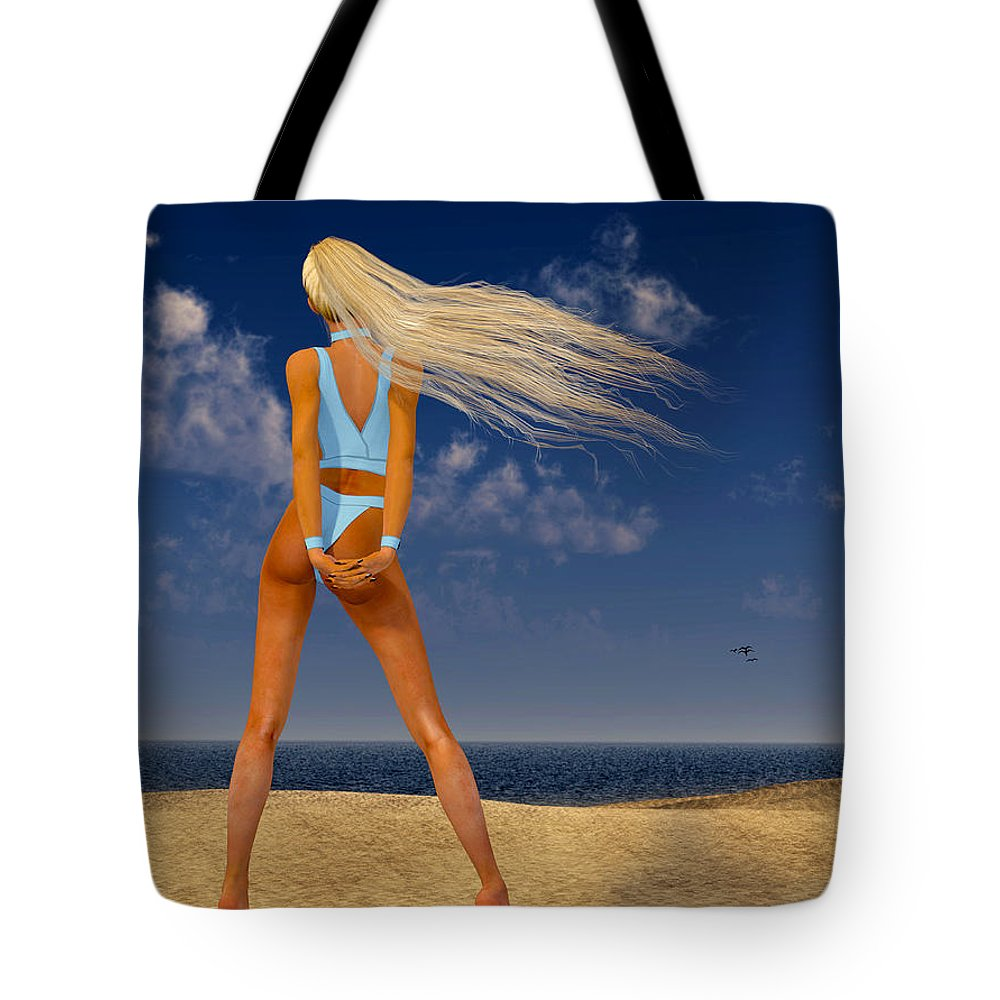 Portrait Tote Bag featuring the digital art Girl On The Beach... by Tim Fillingim