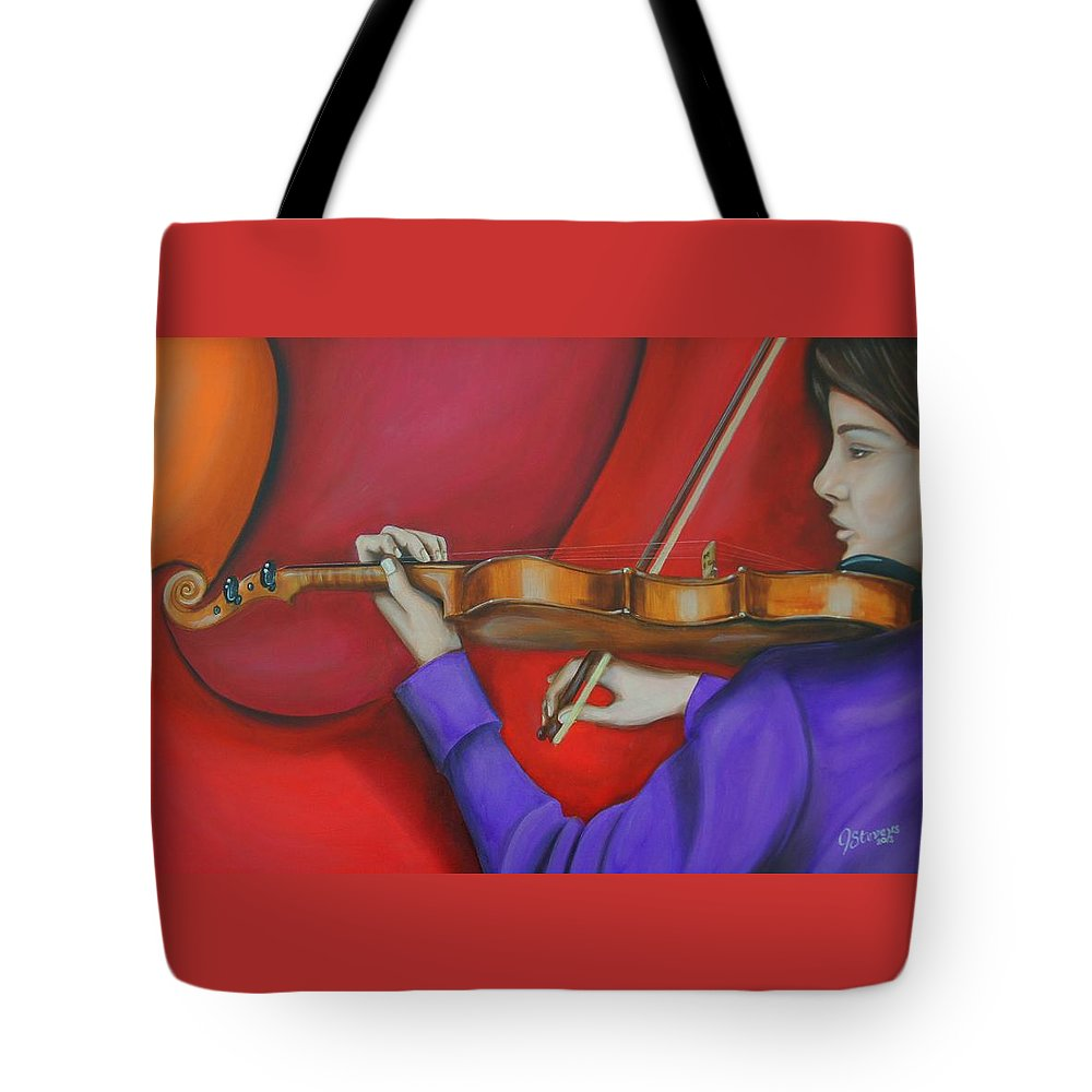 Girl Tote Bag featuring the painting Girl On Violin by John Stevens