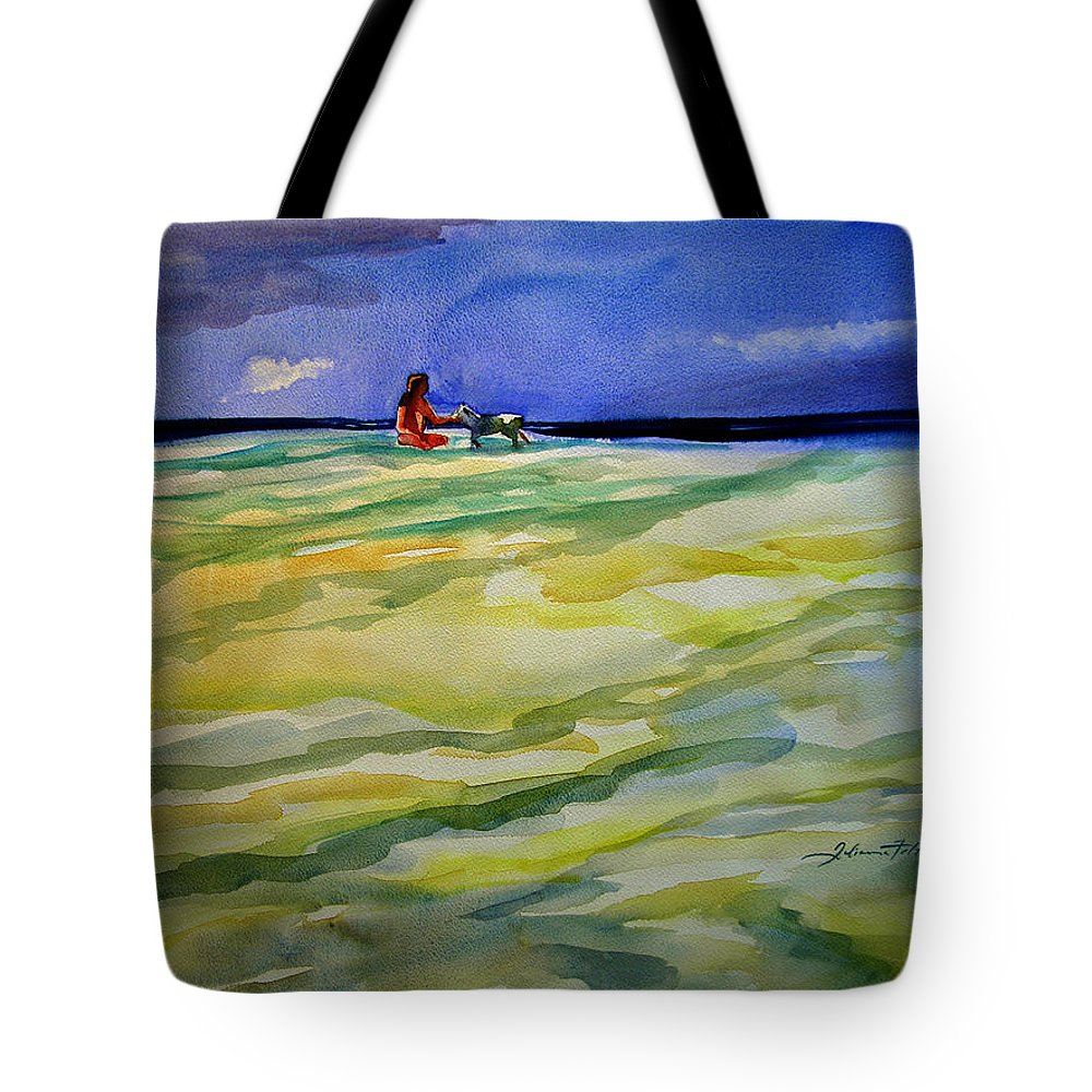 Impressionism Tote Bag featuring the painting Girl With Dog On The Beach by Julianne Felton