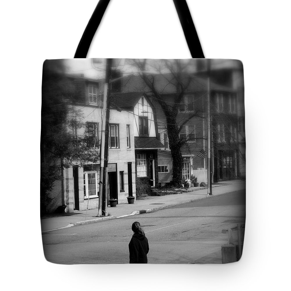 Girl With Dog Tote Bag featuring the photograph Girl With Dog - Somewhere In America by Miriam Danar