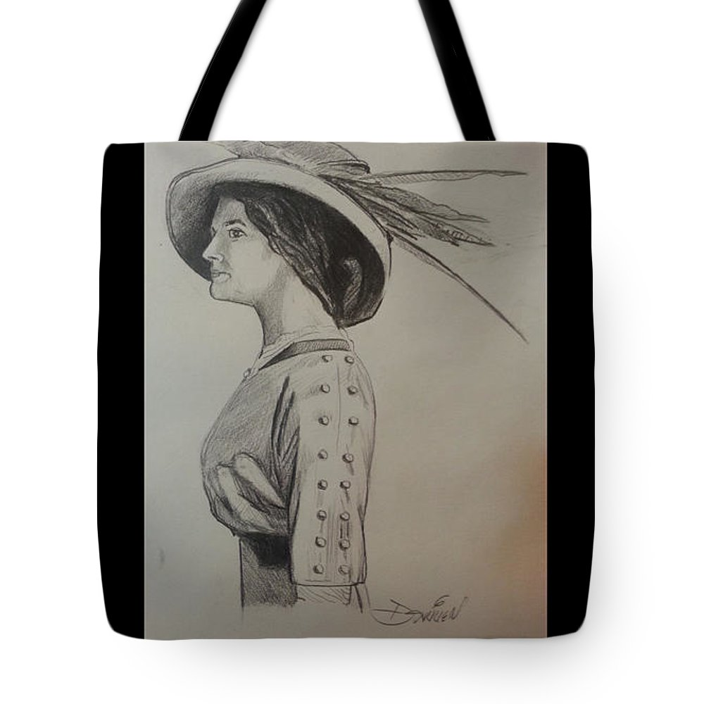 Feathered Hat Tote Bag featuring the drawing Girl With Feathered Hat by Jude Darrien