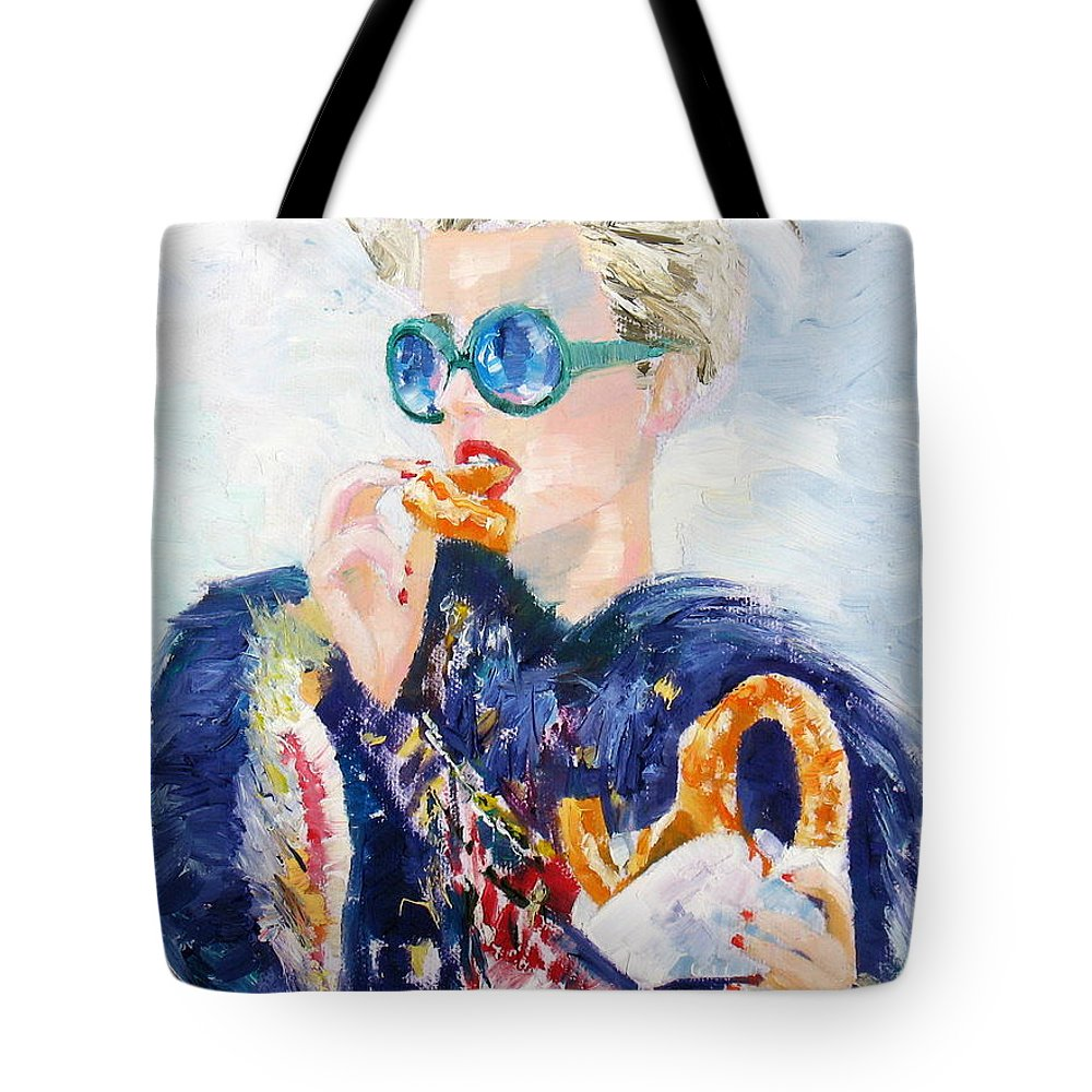 Girl Tote Bag featuring the painting Girl With Glasses Eating Pretzel - Oil Portrait by Fabrizio Cassetta